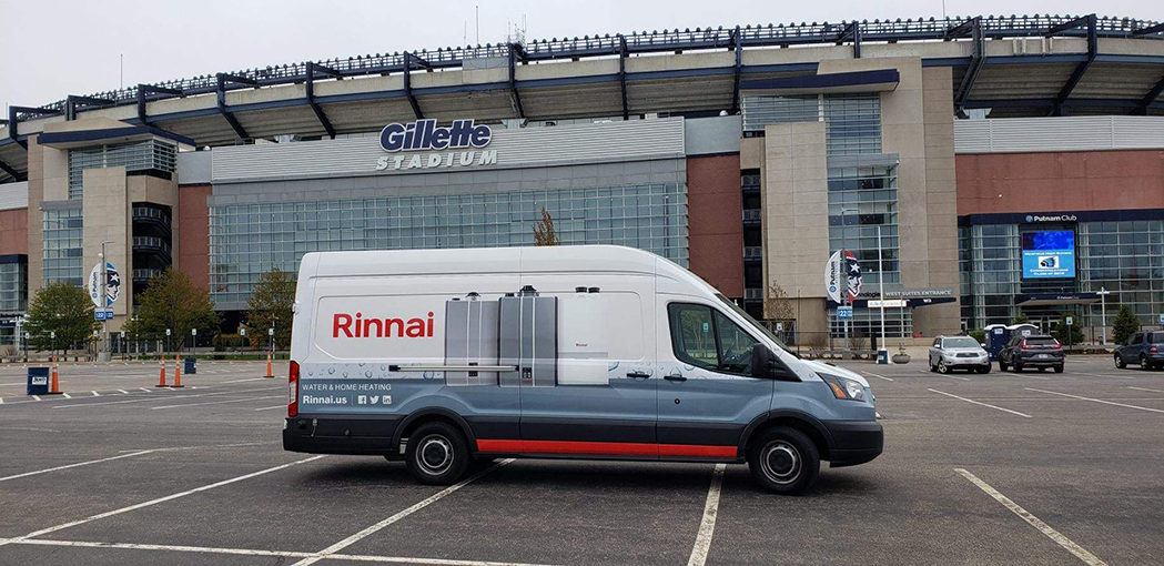 A Try Rinnai Van on tour in front of the Gillette Stadium in Foxborough MA